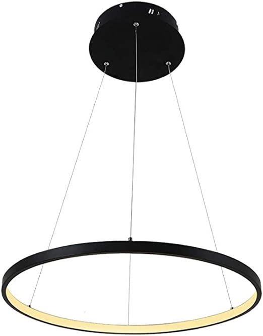 Black Ring Chandelier with Ball Clear Glass Shade Simple Modern Ceiling Pendant Light