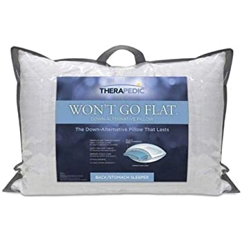 Therapedic Won/'t Go Flat Standard//Queen Side Sleeper Down-Alternative Pillow