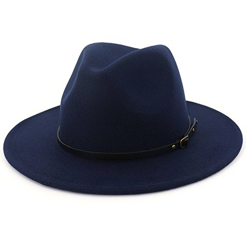 Lisianthus Women Wide Brim Wool Fedora Panama Hat with Belt Buckle Navy-Blue