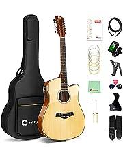 Vangoa 12 String Guitar, Acoustic-electric Dreadnought Cutaway Guitar Bundle, Spruce Top, Sapele Back&Sides, Bone Nut, Natural, Gloss(VA20CE NT12)