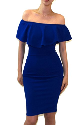 Ruffle Vivicastle Women's Shoulder blue R Midi Bodycon Fitted Off E17 Dress wUZUqO
