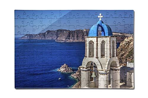 Greece - Blue Steeple and Ocean (12x18 Premium Acrylic Puzzle, 130 Pieces)