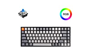 Keychron K2 Bluetooth Mechanical Keyboard with Gateron Blue Switch/RGB LED Backlit/USB C/Anti Ghosting/N-Key Rollover/Compact Design, 84 Key Wireless Tenkeyless Keyboard for Mac Windows