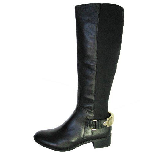 Steve Madden Women's Reggiee Knee-High Boot,Black Leather,8 M (Steve Madden Flat Boots)
