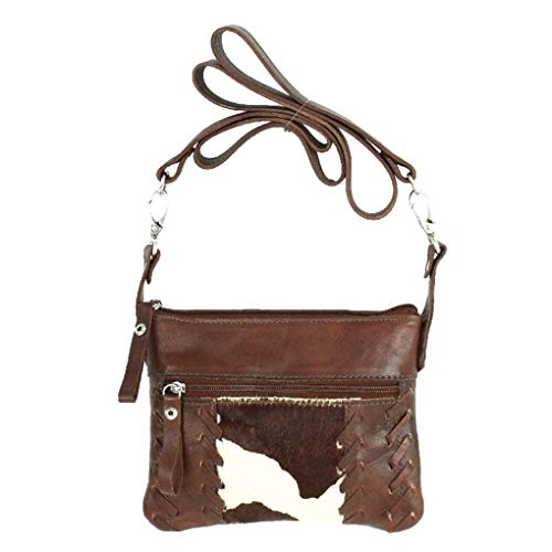 American West Leather - Small Cross Body Handbag - Purse Holder Bundle - (Brown- Cowhide)