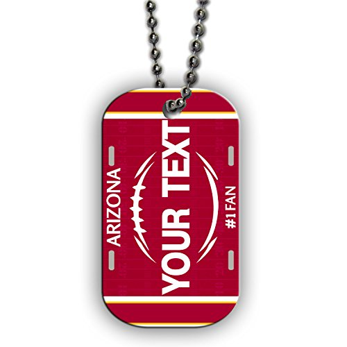 BleuReign(TM) Personalized Custom Name Football Arizona License Plate Single Sided Metal Military ID Dog Tag with Beaded Chain