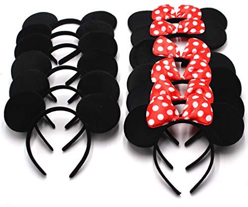 Minnie Mouse Halloween Ideas (12 Pcs Mickey Minnie Headband Mouse  Ears for Boy Girl Birthday Party Celebration, Black Red)