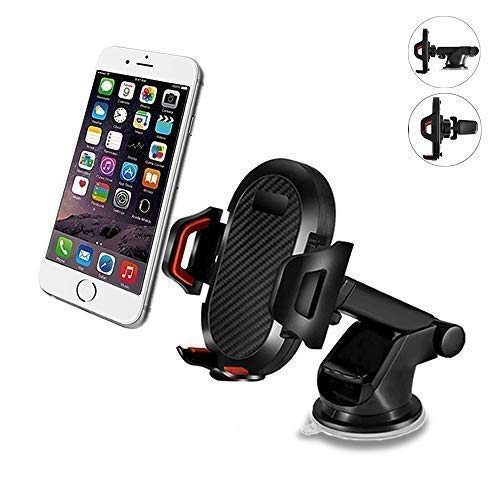 IEhotti Car Phone Mount, 3-in-1 Phone Holder for Car, Car Phone Holder on Dashboard Windshield Air Vent, Strong Sticky, One-Touch Design, GPS Cradle for iPhone Xs Max XR X 8 7 6S & Other Smartphones