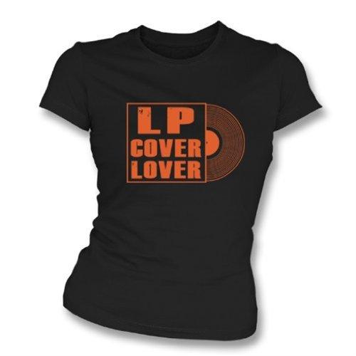 LP Cover Lover Girl's Slim-Fit T-Shirt X-Large Black