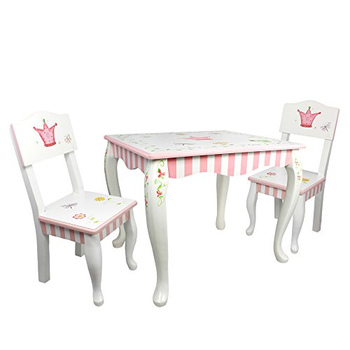 (Fantasy Fields - Princess & Frog Thematic Hand Crafted Kids Wooden Table and 2 Chairs Set | Imagination Inspiring  Hand Crafted & Hand Painted Details   Non-Toxic, Lead Free Water-based Paint)