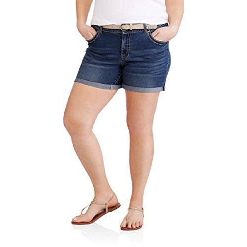 Faded Glory Embroidered Shorts (Faded Glory Plus Size Denim / Jean Shorts w/ Matching Belt - Medium Wash (24W))
