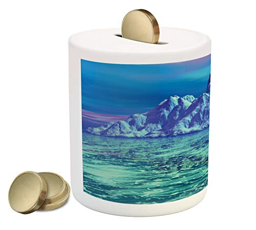 - Ambesonne Ice Berg Piggy Bank, Illustration of an Arctic Landscape Scene Seascape Winter Layout, Printed Ceramic Coin Bank Money Box for Cash Saving, Mint Green and Multicolor