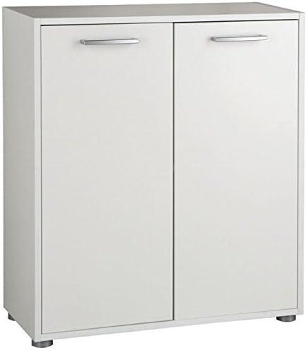 Armario bajo con 2 puertas y estante, modelo BS2834, de color blanco, para oficina o estudio, de 70 cm de ancho x 80 cm de altura x 30 de profundidad: Amazon.es: Hogar