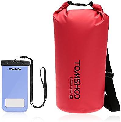 TOMSHOO Bolsa Estanca Exterior Impermeable de Almacenamiento para Viajar Acampada Snowboard 10L / 20L (Opcional) con la Caja Impermeable del Teléfono: Amazon.es: Deportes y aire libre