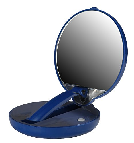 Lighted Adjustable 10X Mirror Compact in Blue -