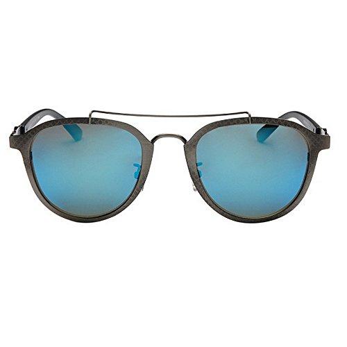 Yxsd Les Blue inspiré Rondes Polarisées Rétro Femmes en Couleur Blue Hommes et Les Style Métal Lunettes Unisexe de Steampunk des pour Soleil BBrw6