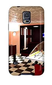 Premium Home Theater And Play Room With Checker Board Floor Tiles And Air Hockey Table Back Cover Snap On Case For Galaxy S5