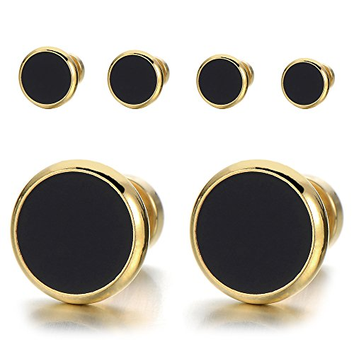 12MM Mens Womens Gold Black Stud Earrings Stainless Steel Illusion Tunnel Plug Screw Back, 2pcs