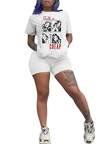 VNVNE Women Casual 2 Piece Outfit Short Sleeve Cartoon Print T-Shirts Sport Shorts Set Club Jumpsuit Rompers (White, -