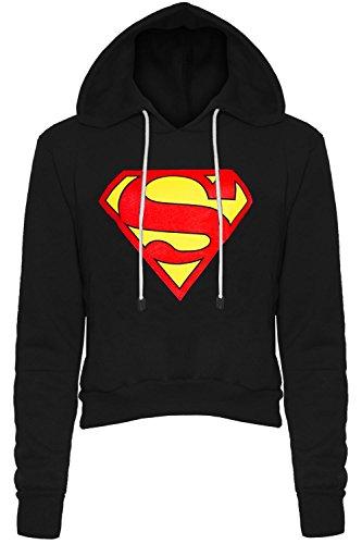 Be Jealous - Sweatshirt à capuche femme logo Superman polaire manches longues coupe courte - Superman - Noir, XL (42-44)