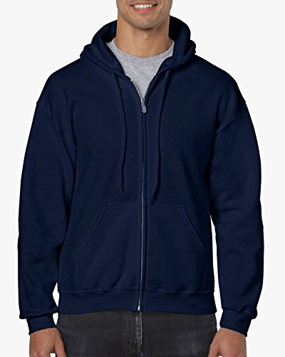 Gildan Heavy Blend Unisex Adult Full Zip Hooded Sweatshirt Top (M) (Navy)