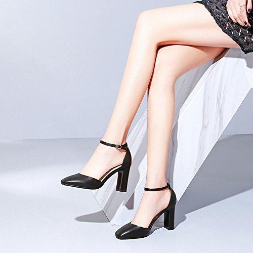 Jqdyl Tacones Zapatos para mujer Tacón alto Tacón grueso grueso grueso Hebilla hueca Temporadas, Negro, 36 f99de0