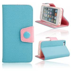 Side Open Dual Color Leather Protective Case for iPhone 5C Sky Blue + Pink
