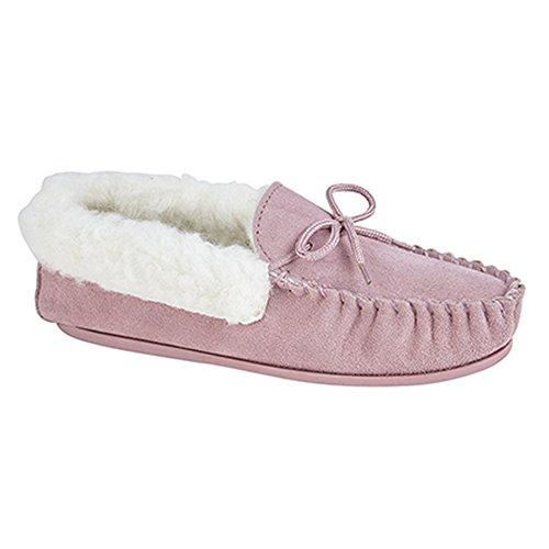 Mokkers - Zapatillas de estar por casa estilo Moccasin modelo Emily para mujer Piedra