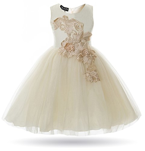 CIELARKO Girl Dress Kids Flower Appliques Tulle Wedding Party Birthday Dresses for 2-10 Years (7-8 Years, Champagne)