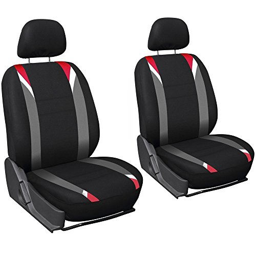 OxGord Car Seat Cover Flat Cloth Bucket Set for Car, Truck, Van, SUV - Black, Grey and Red