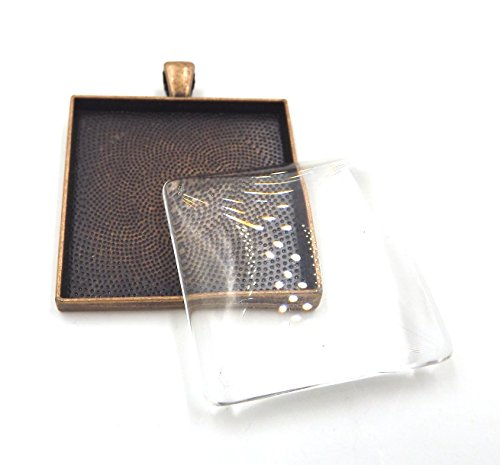 12 Deannassupplyshop 35mm inch square Pendant Trays with glass - Antique Copper - 35mm - Pendant Blanks Cameo Bezel Settings Photo Jewelry - Custom Jewelry Making