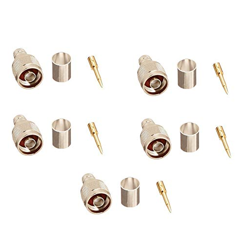 (5pcs N Male Crimp Adapter for RG8,RG-8U, Wbc400, Lmr400, Belden 9913, 7810 and l-com ca-400 and ca-400 Cable, Rf Coaxial Connector 50 ohm (5Pack))