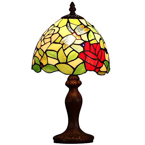 AYEN Pastoral Tiffany Style Red Rose Mini Light Desk Lamp for Living Room Bedroom Bedside Small Desk Lamp