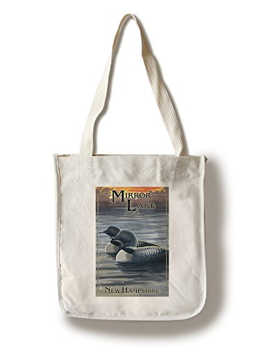 Lantern Press Mirror Lake, New Hampshire - Loon Family (100% Cotton Tote Bag - Reusable)