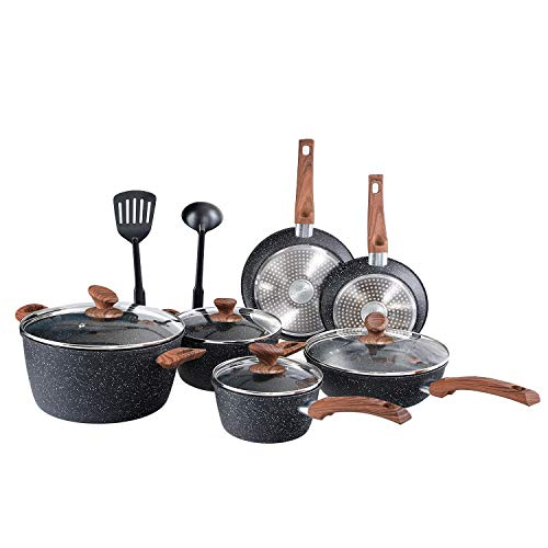 Benecook Nonstick Cookware Sets Dishwasher Safe – 12 Piece Kitchen Cooking Pots and Pans Set