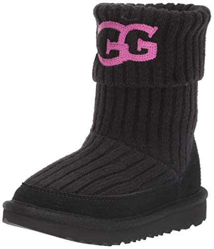 UGG Unisex Knit Fashion Boot, Black, 1 M US Little Kid (Boots Uggs Knit)