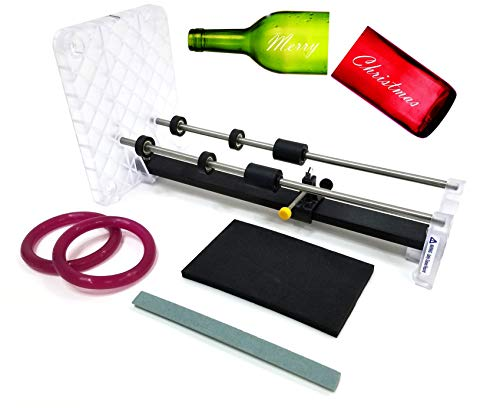 Creator's Bottle Cutter Machine DIY Precision Pro Grade - Cuts Glass Wine/Beer Bottles - Includes Abrasive Stone, Carbide Cutting Wheel - Google Rated Number One Best in The World - Made in The USA