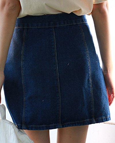 Blu Stile Alta Corta Gonna Denim Slim Fit Stile Donna Occidentale Vita FIvvZq