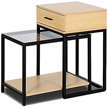 Amazoncom Tangkula Nesting Table Set Of Home Glass Top Metal - Nesting table with drawer