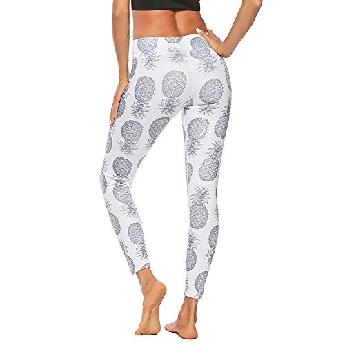 cb42b12dc6b64 NUWOFR Women Workout PineapplePrint Leggings Fitness Sport Gym Yoga  Athletic Pants(White,US:S Waist:26.7'')