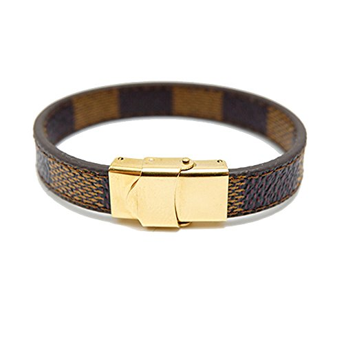 CAIYCAI Man Leather Bracelet Jewelry Stainless Steel Geometric Clasps Gold Leather Bracelets Bangles Charm Brown-gold clasp 23cm men size (Sarasota Outlets)