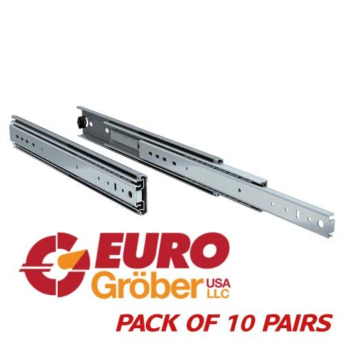 (Pack of 10 Pairs) EURO-GROBER Full Extension Drawer Slides (Full 20 INCH)