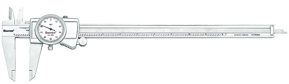 Starrett 3202-12 Dial Caliper, Hardened Stainless Steel, 0-12'' Range, 0.001'' Graduation, White