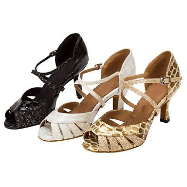 Salsa Personalizables Black Oro Tacón Personalizado baile Negro Zapatos Blanco de Latino gqT04vYx