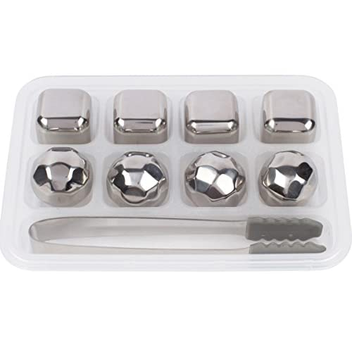 Xummit Whiskey Stones - Set of 8 Stainless Steel Whiskey Ice Cubes & Diamonds with Freezing Storage Tray and Tongs...