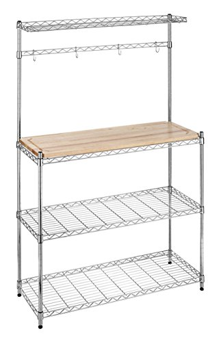 d Steel Baker's Rack with Wood Cutting Board (Metro 8 Bottle Wall)