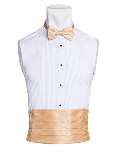 Men's Premium Cummerbund & Bow Tie Set 100% Silk Cummerbund & Bowtie for Tuxedos & Suits - Many Colors (Gold Paisley Pattern)