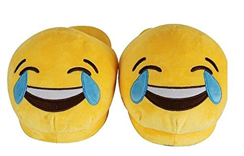Kids Teens Small Emoji Emojies Expressions Tears of Joy Laughter Cartoon Slippers Warm Cozy Soft and Funny Comfort Slip Grip Bottoms (Funny Mens Homemade Halloween Costumes)