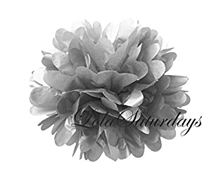 LolaSaturdays Paper Pom Poms 3 Sizes 6 Pack (Metallic Silver) by LolaSaturdays