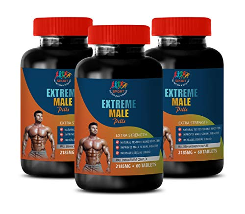 Testosterone Booster libido and Strength - Extreme Male Pills - Extra Strength - tribulus terrestris for Men Fertility - 3 Bottles 180 Tablets by Sport Nutrition & Vitamins USA